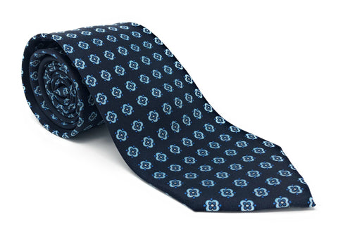 Italian Printed Blue Square Floral Silk Tie - Wilmok