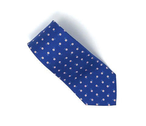 Italian Printed Blue White Flowers Silk Tie - Wilmok