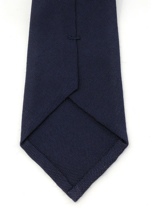 Italian Self-Tipped Navy Blue Wool Tie - Wilmok
