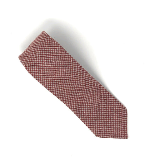Italian Untipped Check Red Wool Tie - Wilmok