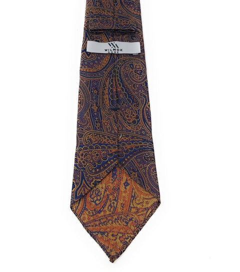 Jacquard Untipped Paisley Orange Silk Tie - Wilmok