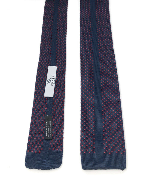 Knitted Handmade Italian Blue Red Silk Tie - Wilmok