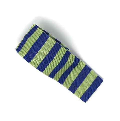 Knitted Handmade Italian Green-Blue Striped Tie - Wilmok