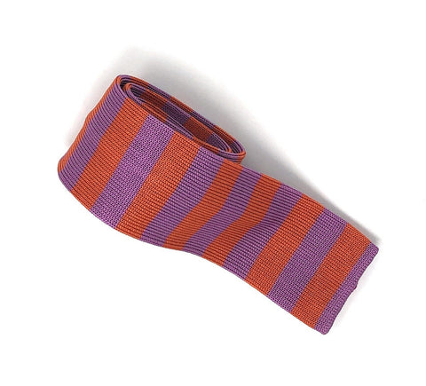 Knitted Handmade Italian Orange-Purple Striped Tie - Wilmok