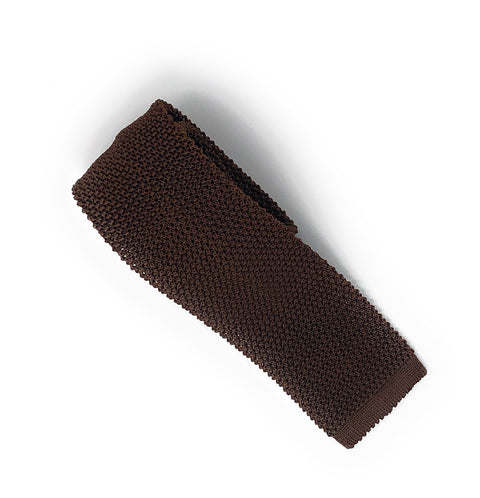 Knitted Handmade Italian Silk Brown Tie - Wilmok