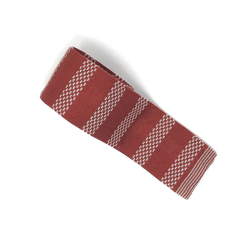 Knitted Handmade Italian Silk Red-White Striped Tie - Wilmok