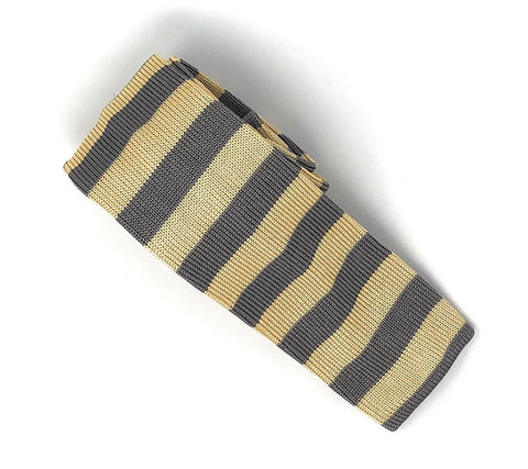 Knitted Handmade Italian Silk Yellow-Grey Striped Tie - Wilmok