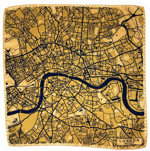 LONDON Map Hand-Rolled Silk Pocket Square - Wilmok