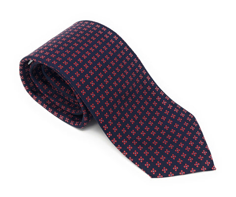 Printed Floral Blue Red Silk Tie - Wilmok