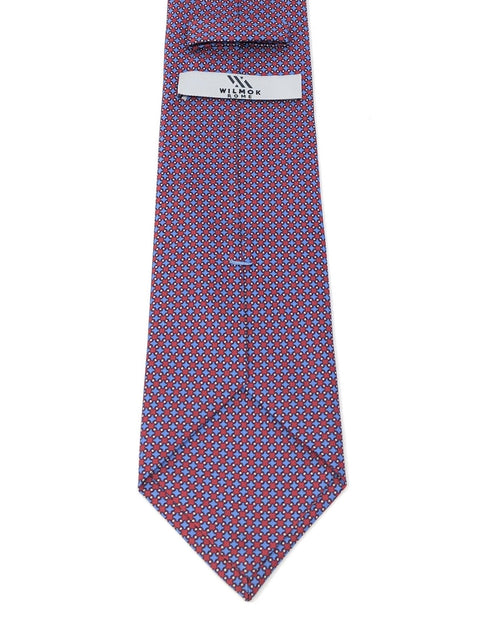 Printed Micro Pattern Red Blue Silk Tie - Wilmok