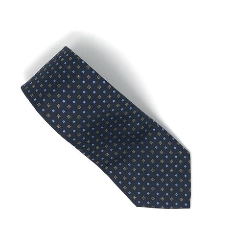 Printed Tile Pattern Navy Blue Silk Tie - Wilmok