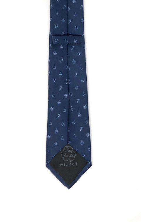 Recycled Plastic Italian Printed Christmas Mix Blue Tie - Wilmok