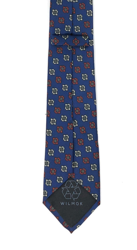Recycled Plastic Italian Printed Diamond Floral Blue Tie - Wilmok