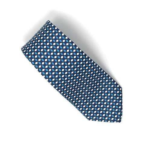 Recycled Plastic Italian Printed Geometric Blue Small Tie - Wilmok