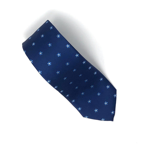 Recycled Plastic Italian Printed Micro Floral Blue Tie - Wilmok