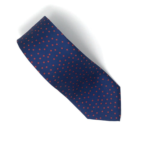 Recycled Plastic Italian Printed Red Polka Dots Tie - Wilmok