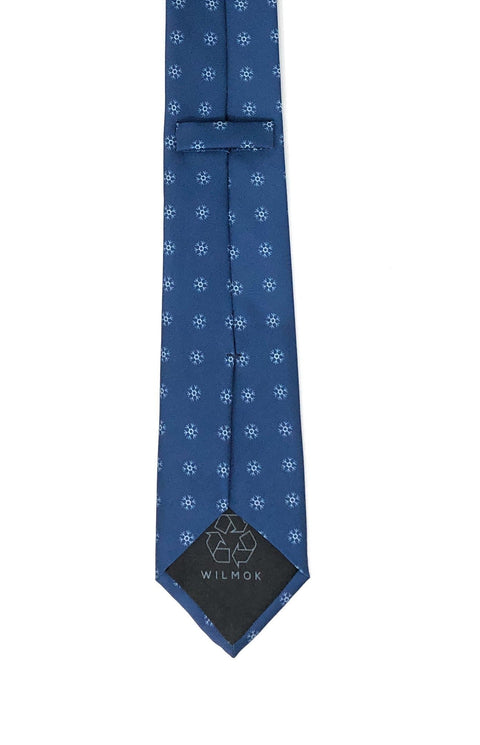 Recycled Plastic Italian Printed Snow Flakes Blue Tie - Wilmok