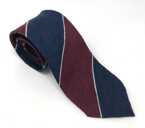 Shantung Untipped Block Striped Navy Maroon Tie - Wilmok