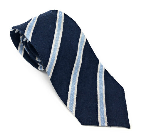 Shantung Untipped Blue Mix Striped Tie - Wilmok