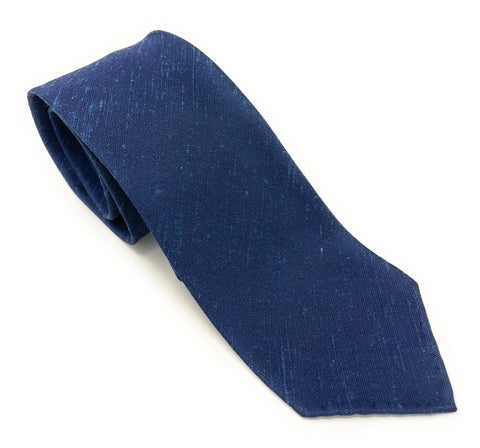 Shantung Untipped Luxury Hand-Rolled Navy Blue Tie - Wilmok