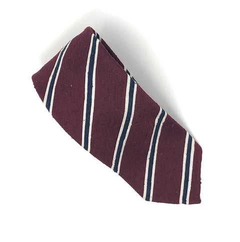 Shantung Untipped Luxury Hand-Rolled Wine Navy Tie - Wilmok
