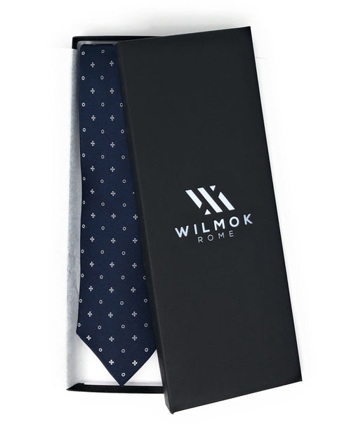 Shantung Untipped Multi Striped Navy White Tie - Wilmok