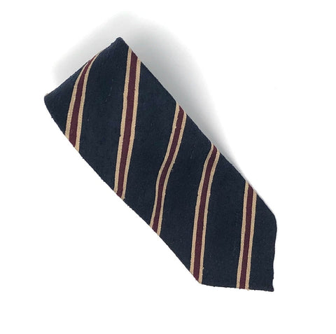 Shantung Untipped Navy Brown Striped Tie - Wilmok