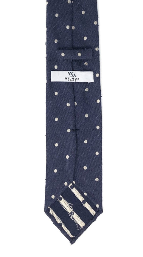 Shantung Untipped Polka Dot Navy White Tie - Wilmok