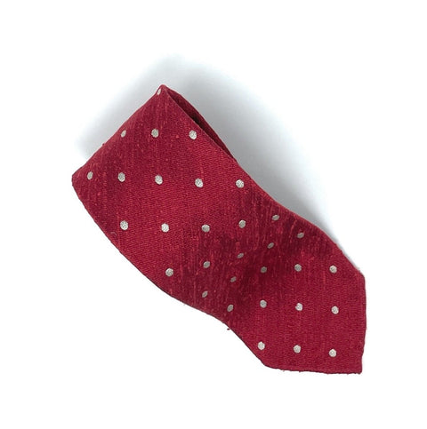 Shantung Untipped Polka Dot Red Tie - Wilmok