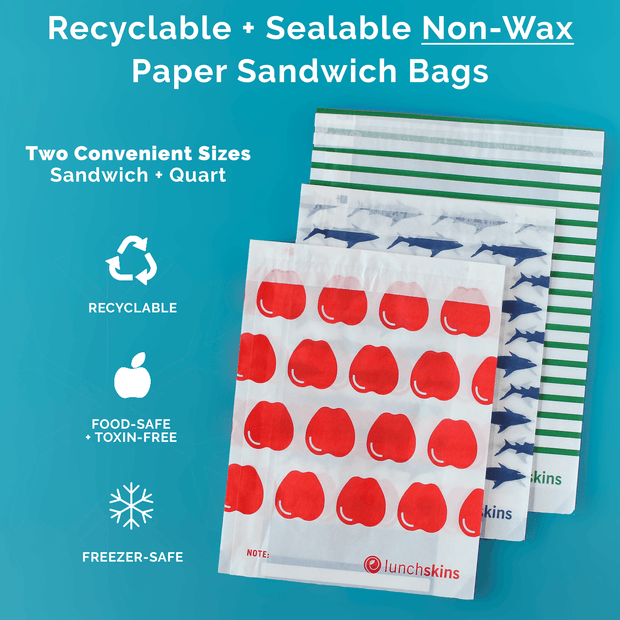 Recyclable + Sealable Non-Wax Paper Sandwich Bags w/Peel-Away Strip - 50ct Box Red Apple 1