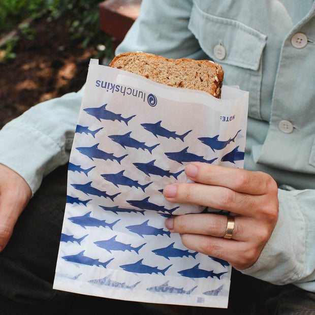 Recyclable + Sealable Non-Wax Paper Sandwich Bags w/Closure Strip, 50-Count, Shark 1