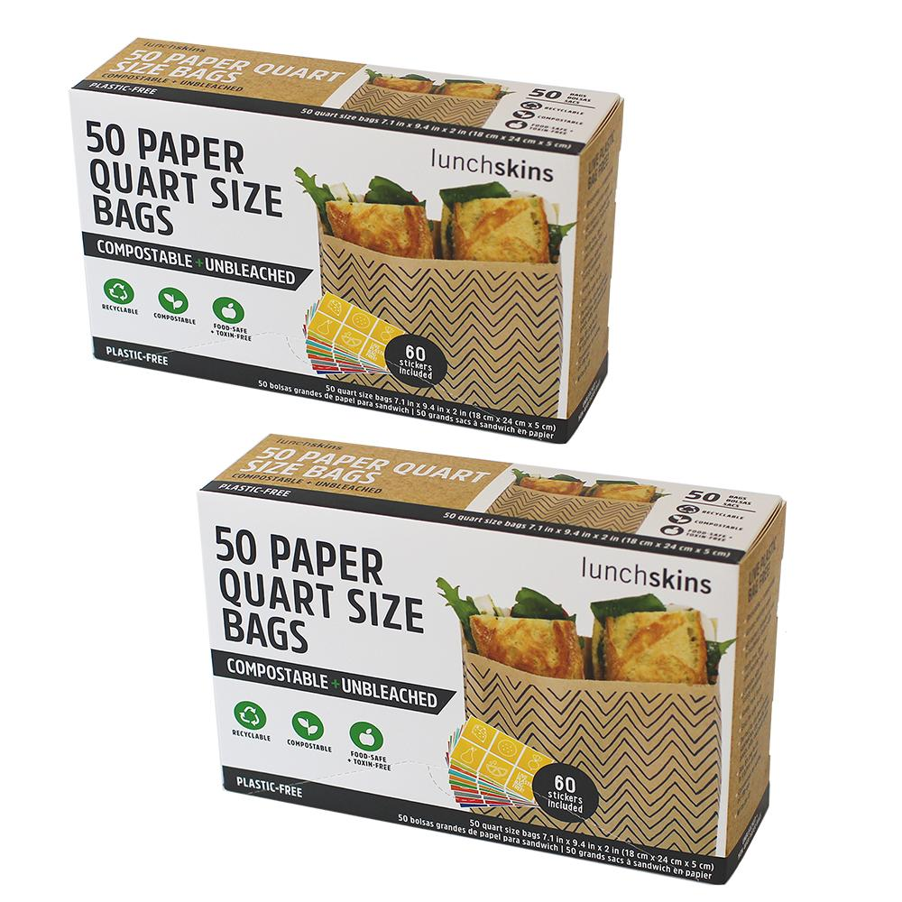 Compostable Paper Quart Size Sandwich Bags w/Stickers 2-Pack Bundle- Chevron 100ct