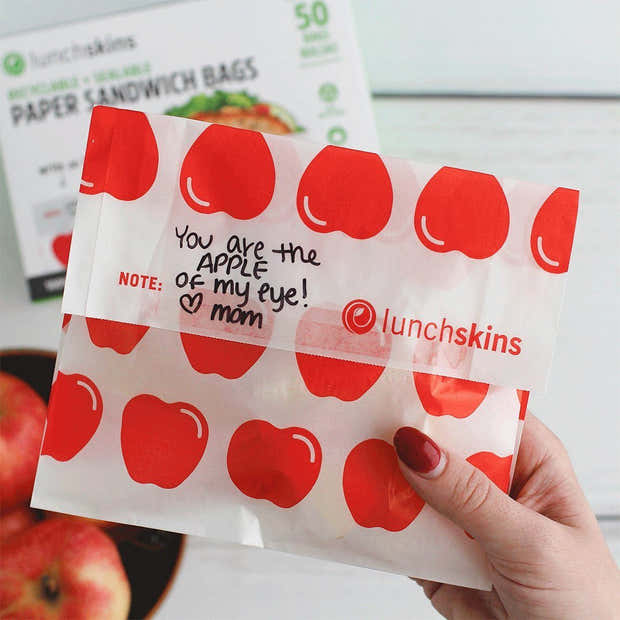 Recyclable + Sealable Non-Wax Paper Sandwich Bags w/Closure Strip, 50-Count, Apple 1