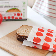 Recyclable + Sealable Non-Wax Paper Sandwich Bags w/Peel-Away Strip - 50ct Box Red Apple