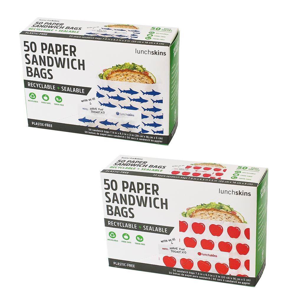 Recyclable + Sealable Paper Sandwich Bags w/Peel-Away Strip 2-Pack Bundle - Apple + Shark 100ct