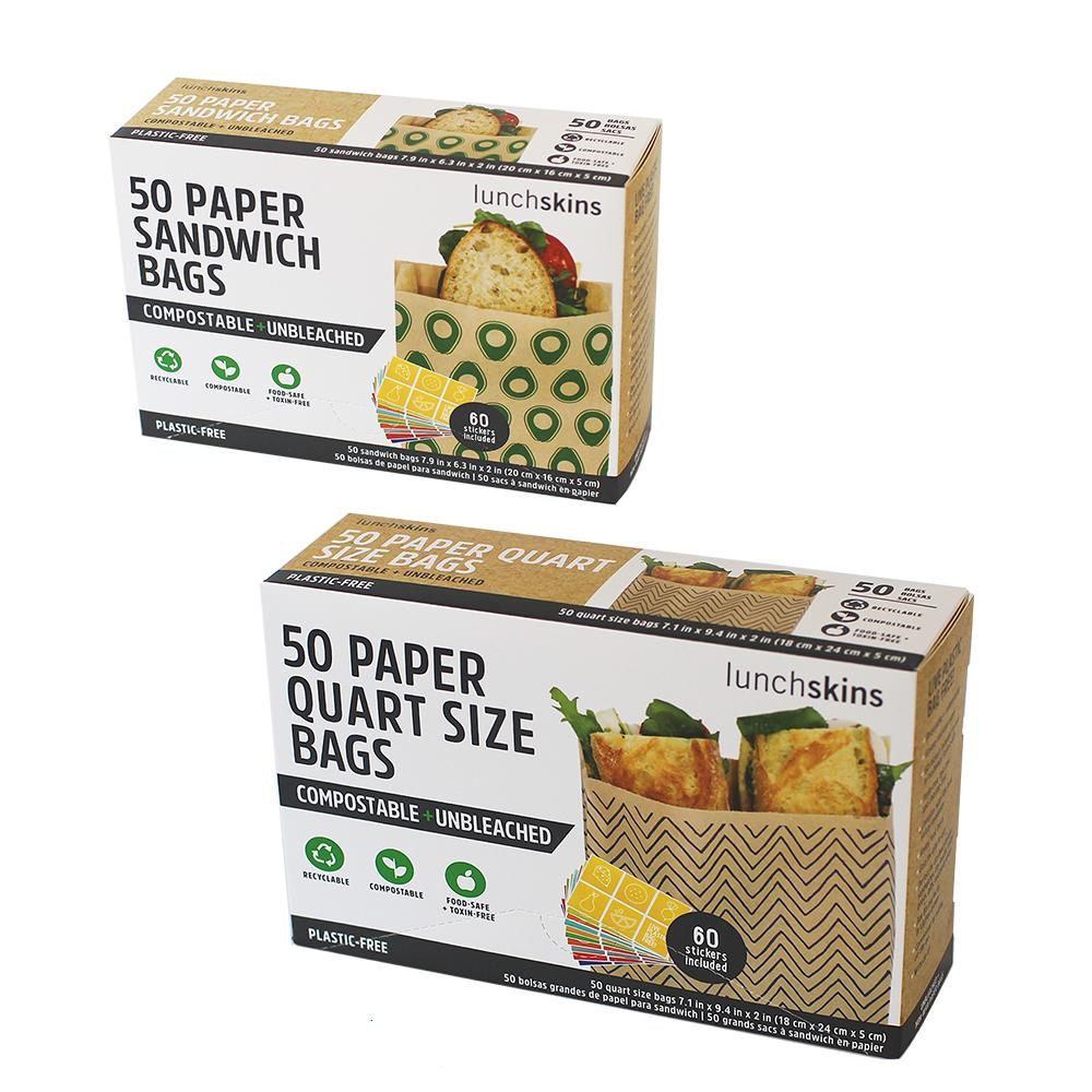 Compostable Paper Avocado Sandwich + Chevron Quart Size Bags w/Stickers 2-Pack Bundle- 100ct