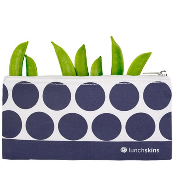 Reusable Zippered Snack Bag, Navy Dot<br>3.5 x 7 inches