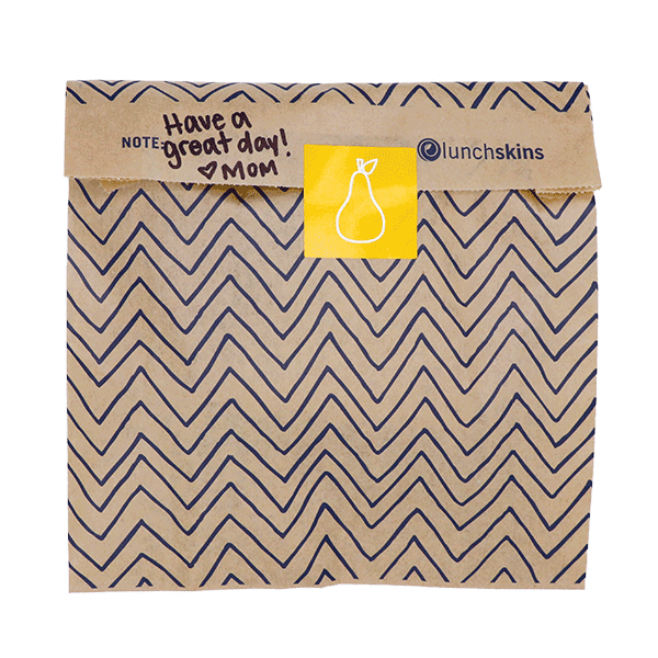 Compostable + Unbleached XL Paper Sandwich Bags w/Resealable Stickers, 50-Count, Chevron 1