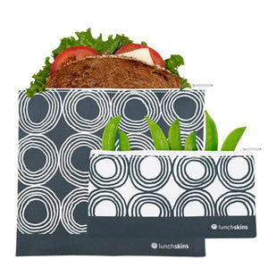 Reusable Zippered Sandwich Bag + Snack Bag 2-Pack Bundle Circles