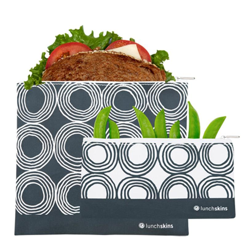 Reusable Zippered 2-Pack Bag Set<br> (1 <strong>BIGGER</strong> Sandwich + 1 Snack) <br>Charcoal Circles