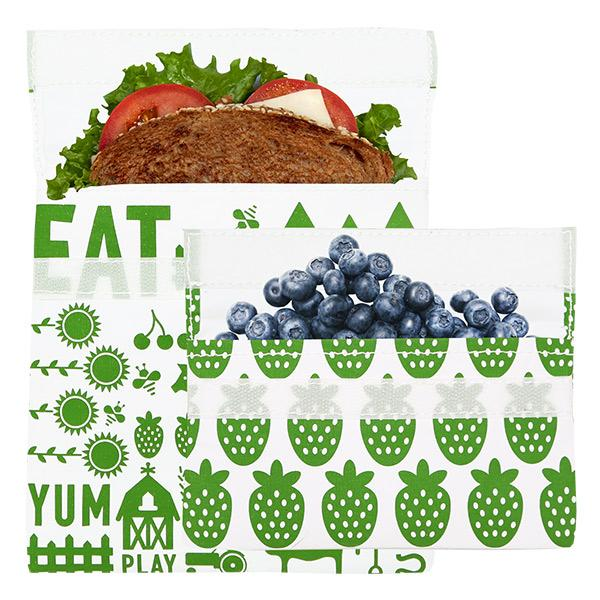 Reusable 2-Pack Bag Set <br>(1 Sandwich + 1 Snack)<br>Green Farm