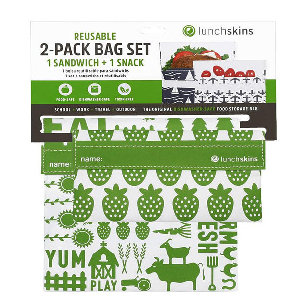 Reusable Sandwich Bag + Snack Bag 2-Pack Bundle Farm 1