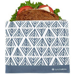 Reusable Zippered Sandwich Bag, Blue Geo<br>6.5 x 7 inches