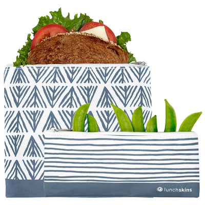 Reusable Lunch Bag Zip Blue Geo 2-Pack Bag Set for food storage best reusable bag usa today