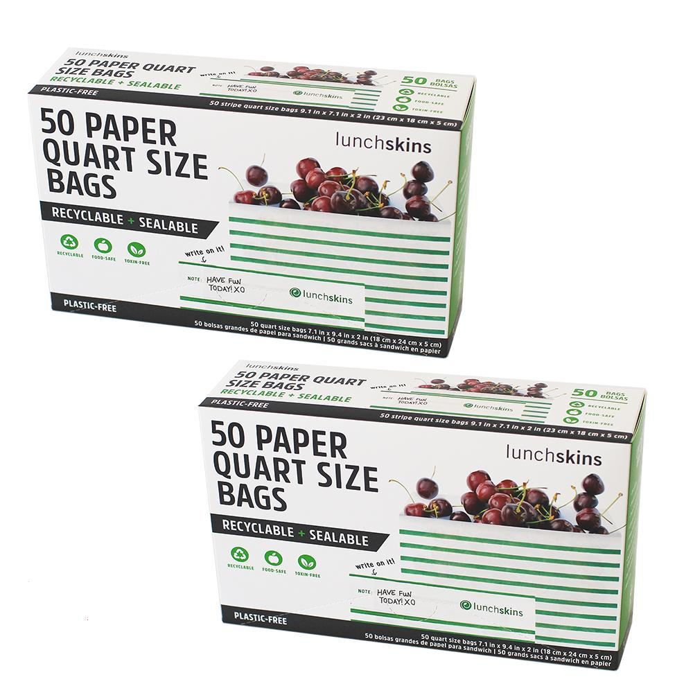 Recyclable + Sealable Paper Quart Bag Green Stripe 50 ct