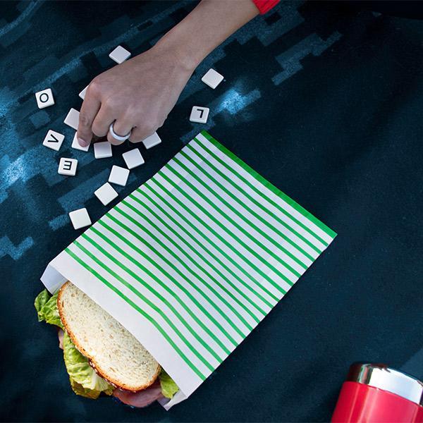 Recyclable + Sealable Non-Wax Paper XL Sandwich Bags w/Closure Strip, 50-Count, Stripe 1