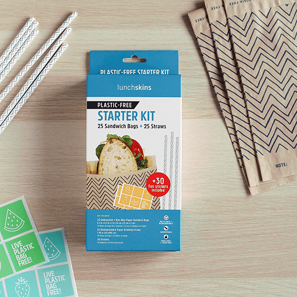 Plastic-Free Starter Kit (Contains: 25 Compostable Paper Sandwich Bags + 25 Biodegradable Paper Straws)
