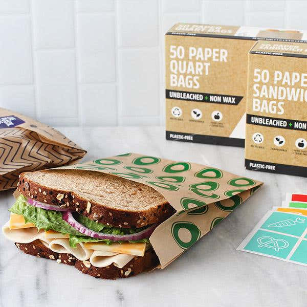 Compostable + Unbleached Paper Sandwich Bags w/Resealable Stickers, 50-Count, Avocado 1