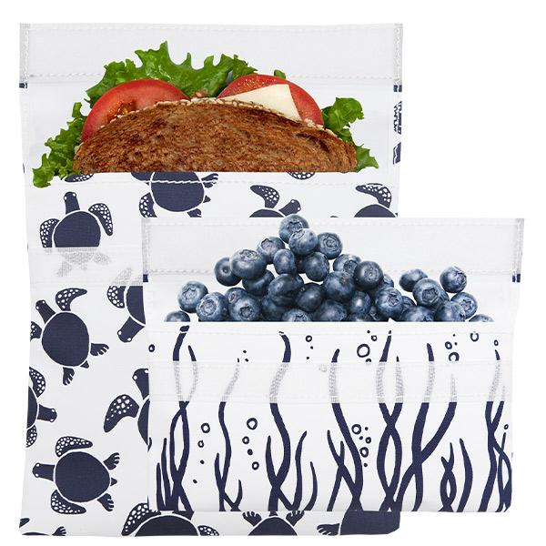 Reusable Sandwich Bag + Snack Bag 2-Pack Bundle Sea Turtle 1