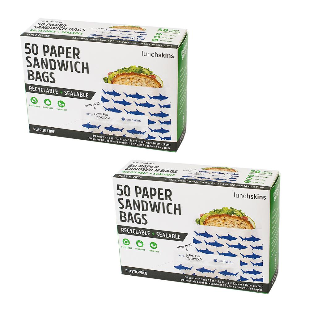 Recyclable + Sealable Paper Sandwich Food Storage Bag Navy Shark 100ct